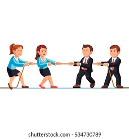 Business man and woman competition metaphor. Two teams playing a tug of war pulling rope. Flat style vector illustration isolated on white background.