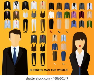 business man and woman concept background. Flat icons.