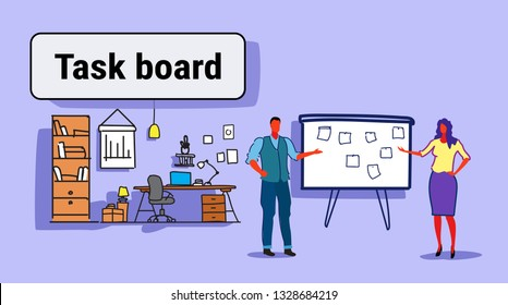 business man woman couple planning weekly meeting schedule on task board with stickers notes to do list managers standing modern office interior sketch doodle horizontal