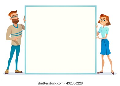 Business Man Woman european  Empty holding hold Banner Copy Space Background Flat Vector Illustration