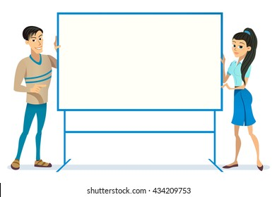 Business Man Woman european Empty holding hold Banner Copy Space Background Flat Vector Illustration stand asian