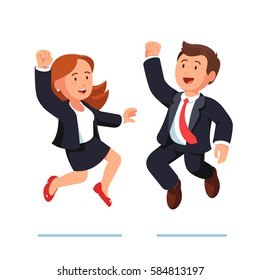 Business man and woman executive managers celebrating success jumping together, making winner gestures raising hands with clenched fists up over heads. Team achievement. Flat style vector illustration