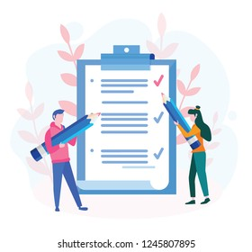 Business man and woman fill out  checklist on a clipboard paper. Big pencil, mission completed concept for web page, banner, presentation, social media, documents, cards, posters. Vector illustration