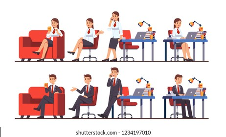 Business man & woman poses set. Businesswoman and businessman working sitting at desk using laptop, taking break drinking coffee relaxing on sofa, talking on phone. Flat cartoon vector illustration