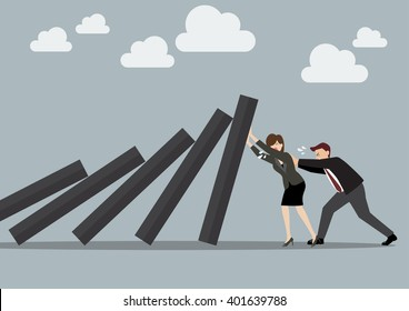 Business man and business woman pushing hard against falling deck of domino tiles. Business Concept