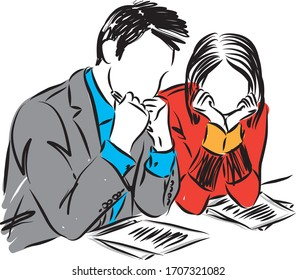 business man and business woman sad bored vector illustration