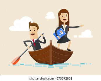Business man and woman sailing on boat together. Man is rower and woman shows the way. Business concept Vector, illustration, flat