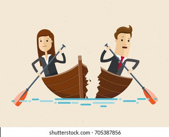 Business man and woman sailing on boat together. Businesswoman and businessman are rowing in different directions and the boat broke apart. Business management concept Vector, illustration, flat
