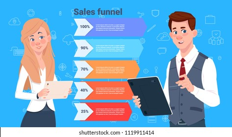 business man woman sales funnel with steps stages business infographic. purchase diagram concept over blue background copy space flat design vector illustration