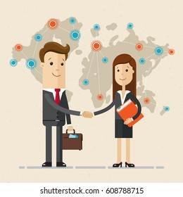 Business man and woman  shake hands and  the world map behind their back. Distribution, trade, business. Red and blue marks on the map. Vector,flat