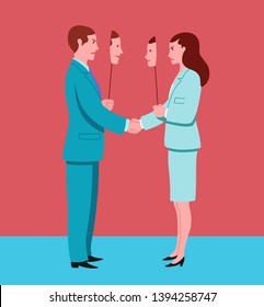Business man and woman shaking hands pretend to agree and hide mutual hostility. Conceptual illustration representing insincerity in workplace