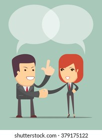 Business Man And Woman Shaking Hands . Vector
