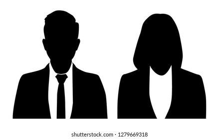 Business Man and business woman in silhouettes.