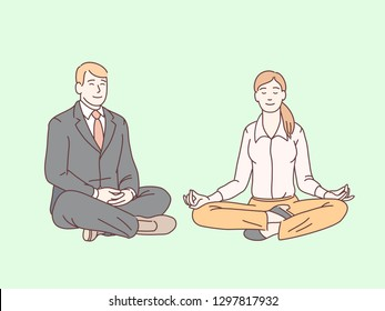 Business man and woman sitting in lotus pose meditating doing mindfulness meditation. Mindful & peaceful business people having break, relaxing, practicing awareness. Flat linear vector illustration