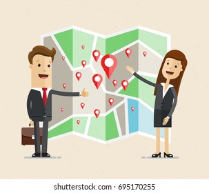 Business man and woman stand near the map with geo tags and point out location. Business navigator.  Vector, Illustration, Flat