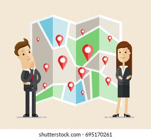 Business man and woman stand near the map with geo tags. Businessman and woman selects a route, business location. Business navigator.  Vector, Illustration, Flat