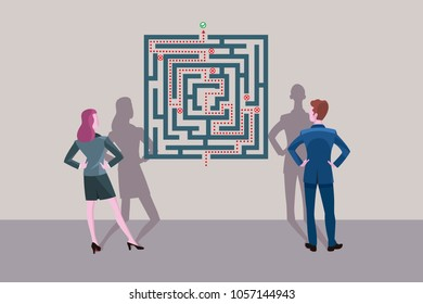 Business man and business woman standing in front of a labyrinth plane. They are looking for the solution of the problem.