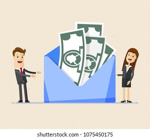 Business man and woman stands near big envelope with money. Concept of a salary, bonus, payout, wages in the envelope. .Transfer money.