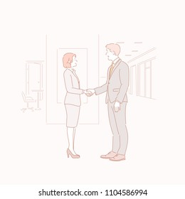 A business man and woman in a suit are shaking hands at the office. drawn style vector doodle design illustrations.