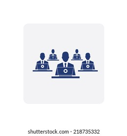 Business Man  work with Computer ICON
