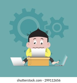 Business man work crazy Illustration vector