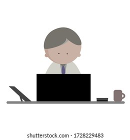 Business man work on laptop computer with tablet, calculator and cup of coffee on the office desk at workplace. Icon vector illustration. Online working, e-business, internet marketing concept.