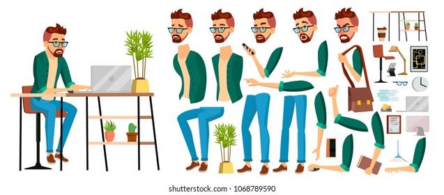 Business Man Worker Character Vector. Hipster Working Male. Office Worker. Animation Set. Clerk, Salesman, Designer. Face Emotions, Expressions. Cartoon Illustration