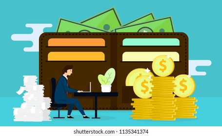 Business man working with big purse on background and a lot of paper work. Remuneration. Career development . Motivation. Vector illustration design.