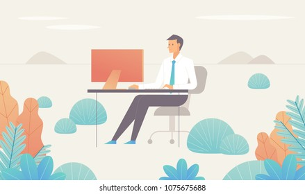 A business man working in a fantasy space. vector illustration flat design