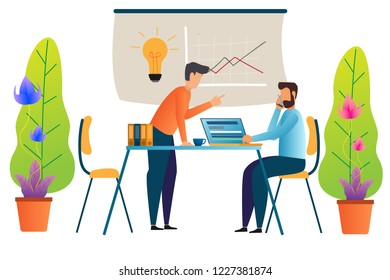 business man is working at his laptop and discussion colleague. Modern office interior. Vector illustration.