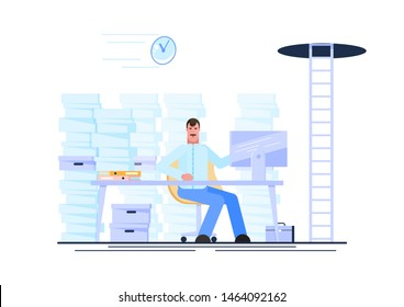 Business man working at his workplace during working hours with a pile of paper document around. Procrastination and waste time concept. Vector illustration - Vector illustration.