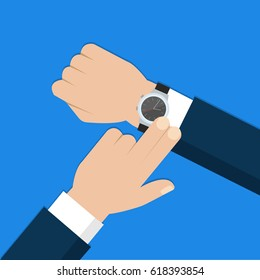 Business man with wristwatch checks time. Hand with clock in flat design on blue background. Vector illustration