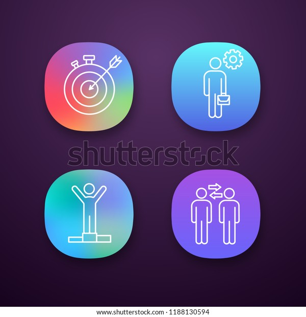 Business Management App Icons Set Uiux Stock Vector (Royalty