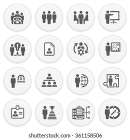 Business and management black icons with buttons. Flat design.