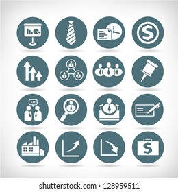 business management buttons, icon set