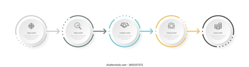 Business management, color design, modern infographic vector illustration. Business process goal search profit line icons with round design template with 5 steps. Isolated collection for websites.