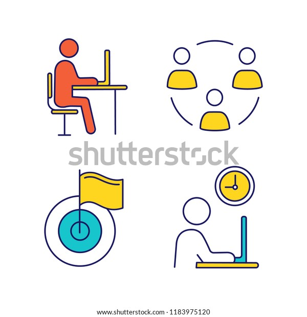 Business Management Color Icons Set Remote Stock Vector