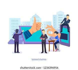 Business to business. Business management, communications, supply chain, market research, commerce sales analytics, financial relations between companies. E-commerce transactions. Vector illustration.