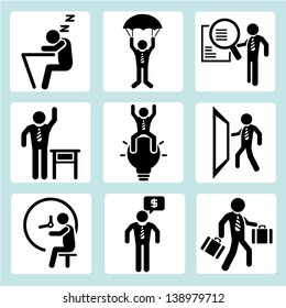 business management concept and human resource concept icons, people set