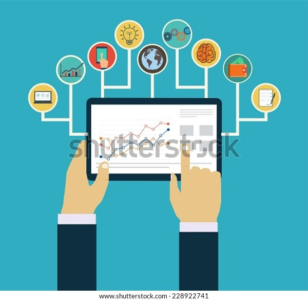 Business management concept, Interaction hands using mobile apps, concept  mobile apps