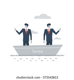 Business management, disagreement situation, choosing direction, team work, vector flat illustration