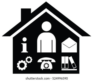 Business management or Facility management vector symbol icon. Symbol representing any business activity, information, customer and file handling under one place.