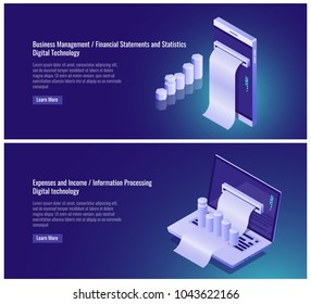 Business management, financial statement and statistics, expenses and income accounting, information processing, statistics report, mobile phone laptop isometric vector illustration on ultraviolet