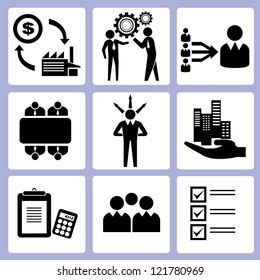 business management and business function icon set, vector