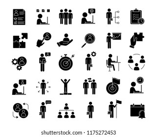 Business management glyph icons set. Headhunting and HR management. Teamwork and leadership. Business development. Silhouette symbols. Vector isolated illustration