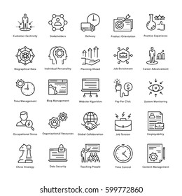 Business Management and Growth Vector Line Icons 13