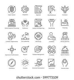 Business Management and Growth Vector Line Icons 37