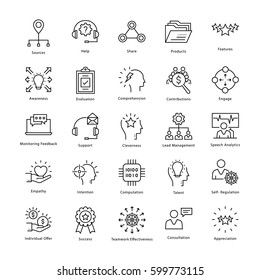 Business Management and Growth Vector Line Icons 33