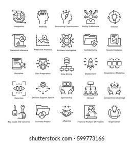 Business Management and Growth Vector Line Icons 39