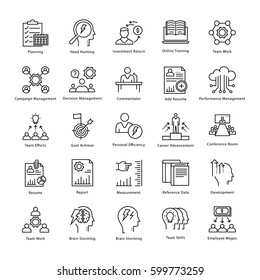 Business Management and Growth Vector Line Icons 16